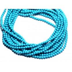 Fil 39cm 180pc env - Perles de Pierre Turquoise Synthèse Reconstituée Boules 2mm Bleu Turquoise