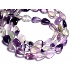 Fil 39cm 26pc env - Perles de Pierre - Fluorite Violette Gouttes 14x10mm