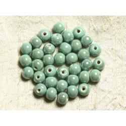 100pc - Perles Céramique Porcelaine irisées Rondes 8mm Vert clair Turquoise