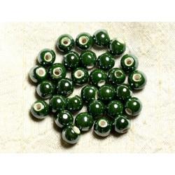 100pc - Perles Céramique Porcelaine irisées Rondes 8mm Vert Olive Empire