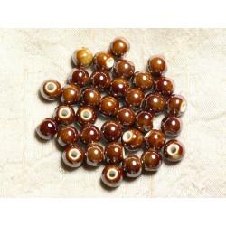 100pc - Perles Céramique Porcelaine irisées Rondes 8mm Marron