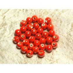 100pc - Perles Céramique Porcelaine irisées Rondes 8mm Orange