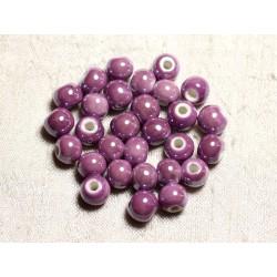 100pc - Perles Céramique Porcelaine irisées Rondes 8mm Violet Rose