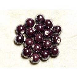 100pc - Perles Céramique Porcelaine Rondes irisées 12mm Violet