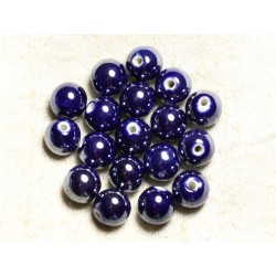 100pc - Perles Céramique Porcelaine Rondes irisées 12mm Bleu nuit