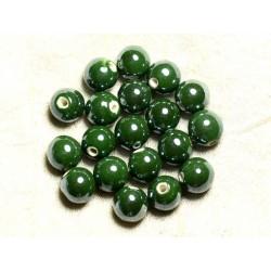 100pc - Perles Céramique Porcelaine Rondes irisées 12mm Vert Olive Empire