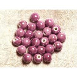 100pc - Perles Céramique Porcelaine Rondes irisées 10mm Violet Rose Mauve