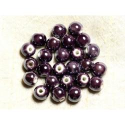 100pc - Perles Céramique Porcelaine Rondes irisées 10mm Violet