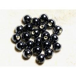 100pc - Perles Céramique Porcelaine Rondes irisées 10mm Noir