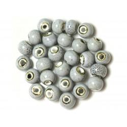 100pc - Perles Céramique Porcelaine Rondes 10mm Bleu clair noir