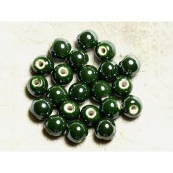100pc - Perles Céramique Porcelaine Rondes irisées 10mm Vert Olive Empire