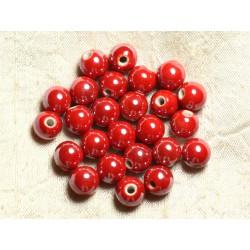 100pc - Perles Céramique Porcelaine Rondes irisées 10mm Rouge