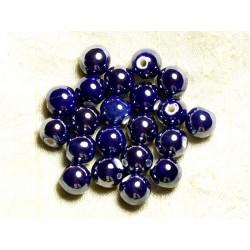100pc - Perles Céramique Porcelaine Rondes irisées 10mm Bleu nuit