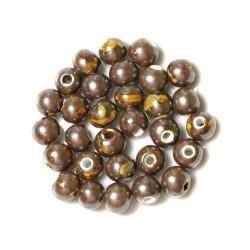 100pc - Perles Céramique Porcelaine Rondes 10mm Marron Jaune Métallisé