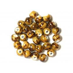 100pc - Perles Céramique Porcelaine Rondes 10mm Jaune Ocre Marron