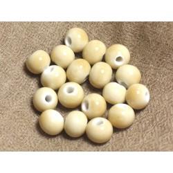 100pc - Perles Céramique Porcelaine Rondes 10mm Jaune clair Pastel
