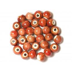 100pc - Perles Céramique Porcelaine Rondes 10mm Rouge
