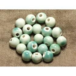 100pc - Perles Céramique Porcelaine Rondes 10mm Blanc Vert Turquoise