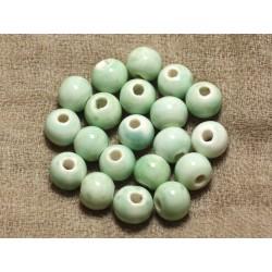 100pc - Perles Céramique Porcelaine Rondes 10mm Vert clair Turquoise