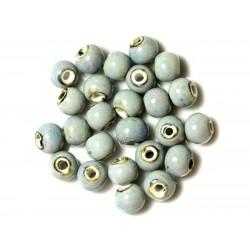 100pc - Perles Céramique Porcelaine Rondes 10mm Bleu clair