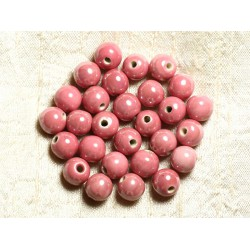 100pc - Perles Céramique Porcelaine Rondes irisées 10mm Rose Corail Pêche