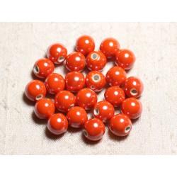 100pc - Perles Céramique Porcelaine Rondes irisées 10mm Orange