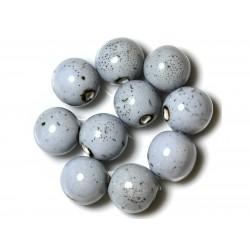 50pc - Perles Céramique Porcelaine Rondes 20mm Bleu clair Noir