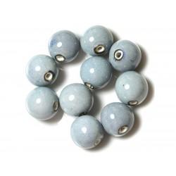 50pc - Perles Céramique Porcelaine Rondes 20mm Bleu clair