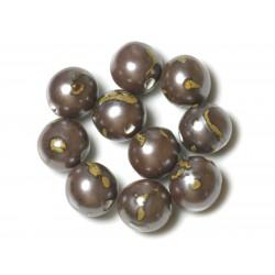 50pc - Perles Céramique Porcelaine Rondes 20mm Marron Jaune Métallisé