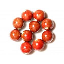 50pc - Perles Céramique Porcelaine Rondes 20mm Rouge Jaune