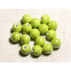 100pc - Perles Céramique Porcelaine Rondes irisées 12mm Jaune Vert Citron Anis