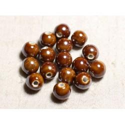100pc - Perles Céramique Porcelaine Rondes irisées 12mm Marron
