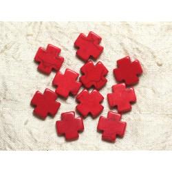 Fil 39cm 25pc env - Perles de Pierre Turquoise Synthèse Croix 15mm Rouge