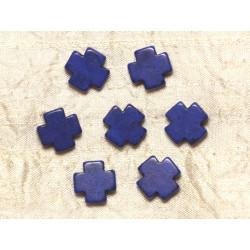 Fil 39cm 25pc env - Perles de Pierre Turquoise Synthèse Croix 15mm Bleu nuit