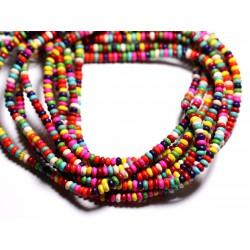Fil 39cm 148pc env - Perles de Pierre Turquoise Synthèse Rondelles 4x2mm Multicolore
