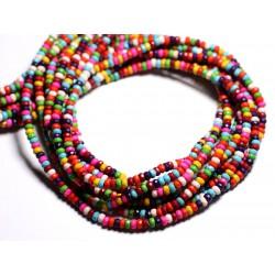 Fil 39cm 158pc env - Perles de Pierre Turquoise Synthèse Rondelles Facettées 4x2mm Multicolore