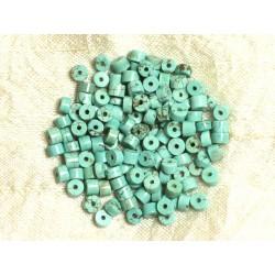 Fil 39cm 132pc env - Perles de Pierre Turquoise Synthèse Rondelles Heishi 5x3mm Bleu Turquoise
