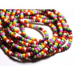 Fil 39cm 86pc env - Perles de Pierre Turquoise Synthèse Rondelles Facettées 6x4mm Multicolore