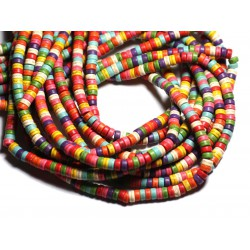 Fil 39cm 135pc env - Perles de Pierre Turquoise Synthèse Rondelles Heishi 6x3mm Multicolore