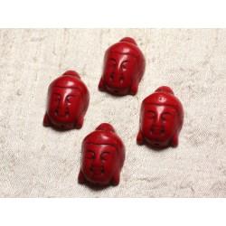 Fil 39cm 13pc env - Perles de Pierre Turquoise Synthèse Bouddha 29mm Rouge