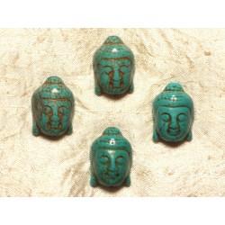 Fil 39cm 13pc env - Perles de Pierre Turquoise Synthèse Bouddha 29mm Bleu Turquoise