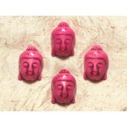 Fil 39cm 13pc env - Perles de Pierre Turquoise Synthèse Bouddha 29mm Rose Fluo