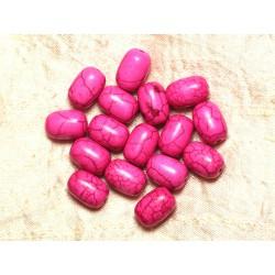 Fil 39cm 26pc env - Perles de Pierre Turquoise Synthèse Tonneaux 14mm Rose Fluo