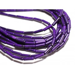 Fil 39cm 29pc env - Perles de Pierre Turquoise Synthèse Tubes 13x4mm Violet