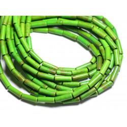 Fil 39cm 29pc env - Perles de Pierre Turquoise Synthèse Tubes 13x4mm Vert