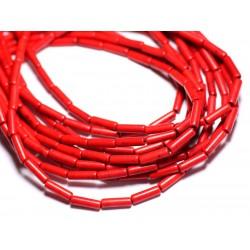 Fil 39cm 29pc env - Perles de Pierre Turquoise Synthèse Tubes 13x4mm Rouge