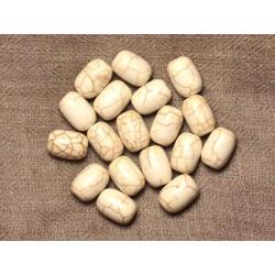 Fil 39cm 26pc env - Perles de Pierre Turquoise Synthèse Tonneaux 14mm Blanc crème