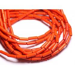 Fil 39cm 29pc env - Perles de Pierre Turquoise Synthèse Tubes 13x4mm Orange
