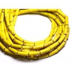 Fil 39cm 29pc env - Perles de Pierre Turquoise Synthèse Tubes 13x4mm Jaune