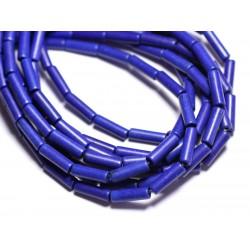 Fil 39cm 29pc env - Perles de Pierre Turquoise Synthèse Tubes 13x4mm Bleu nuit